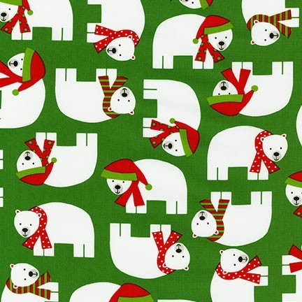 R. Kaufman, Jingle Bears green, Webstoff