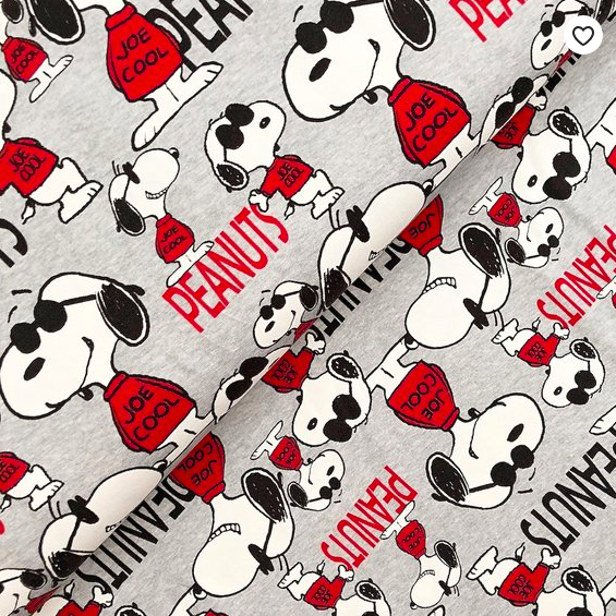 Peanuts, Snoopy als Joe Cool grau-meliert, Bio-Jersey