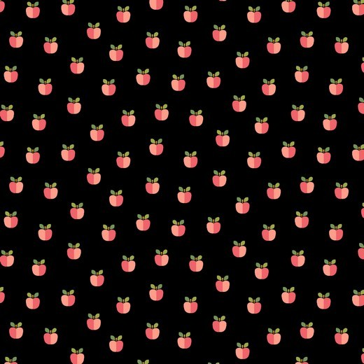 Äpfelchen schwarz, Baumwoll-Popeline, 60°waschbar