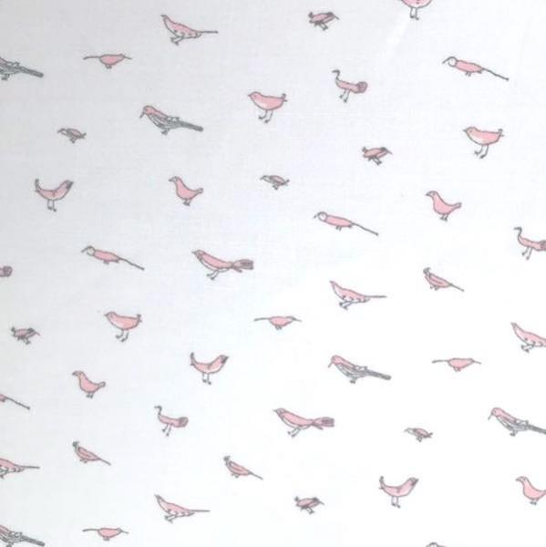 Carlotta Vögelchen rosa auf weiß, Batist