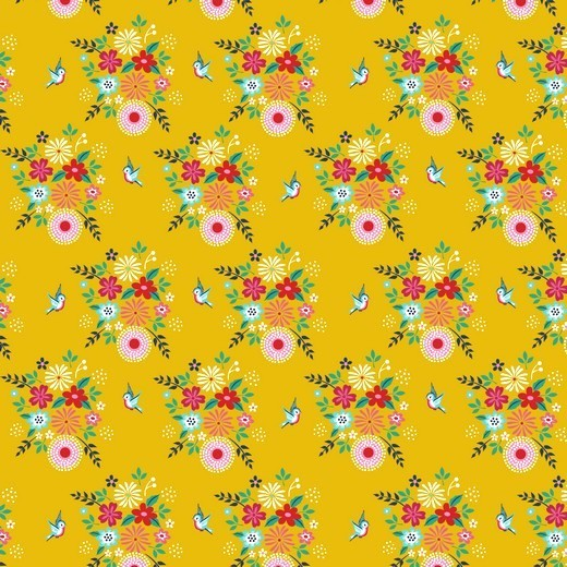 Birdy Flowers Blumen senf, Baumwoll-Popeline bei 60° waschbar