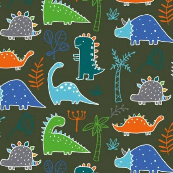 Bunte Dinosaurier mit orange auf dunkelgrün, Jersey