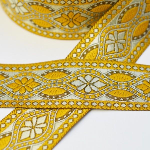 Jacquardborte Blumenornament,lurex-gelb