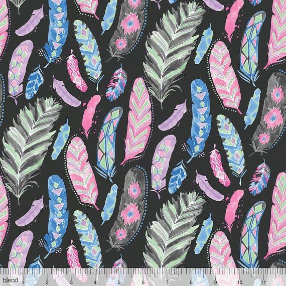 blendfabrics, Dream Catcher, Federn anthrazit, Webstoff