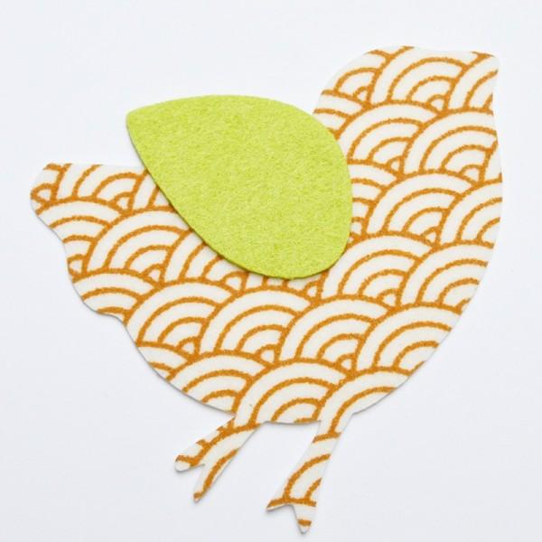 Applikation Vogel groß, braun-grün