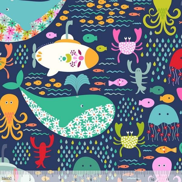 blendfabrics, Go Fish, Meeresbewohner auf dunkelblau, Webstoff