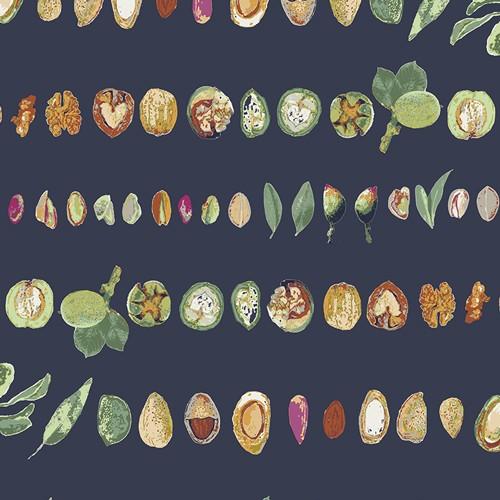 Art Gallery, Mediterraneo Nut Medley, dunkelblau, Baumwollstoff