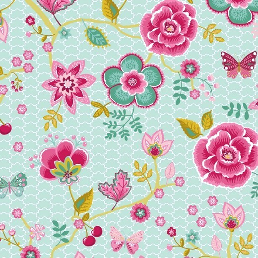 Happy Garden Blumenzweige mint, Baumwoll-Popeline bei 60° waschbar