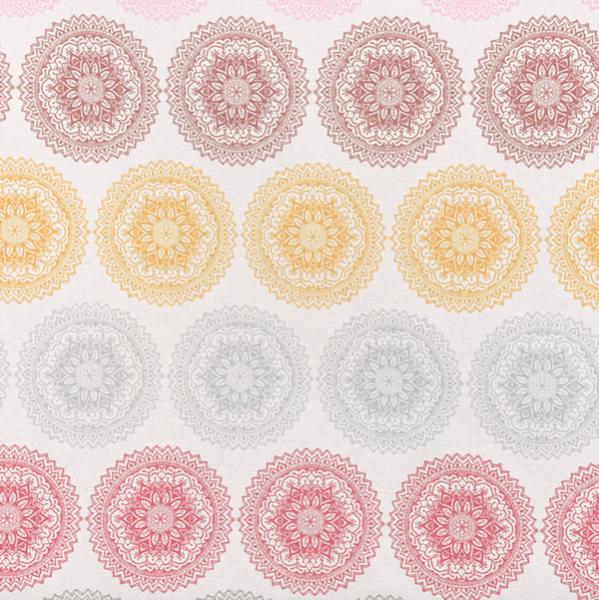 Dekostoff, Bunte Mandalas in Reihen pastell