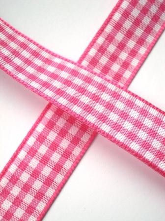 Stoffband, pink kariert, 15 mm