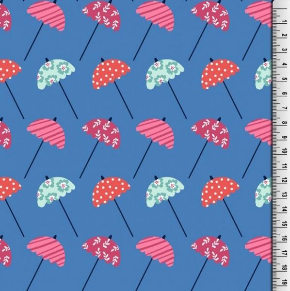 Badeanzugstoff, Schirme blau