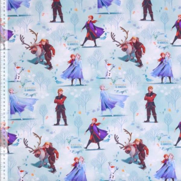 Frozen/Die Eiskönigin Figuren auf hellblau, Baumwoll-Popeline