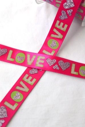 Love, pink, Satinband