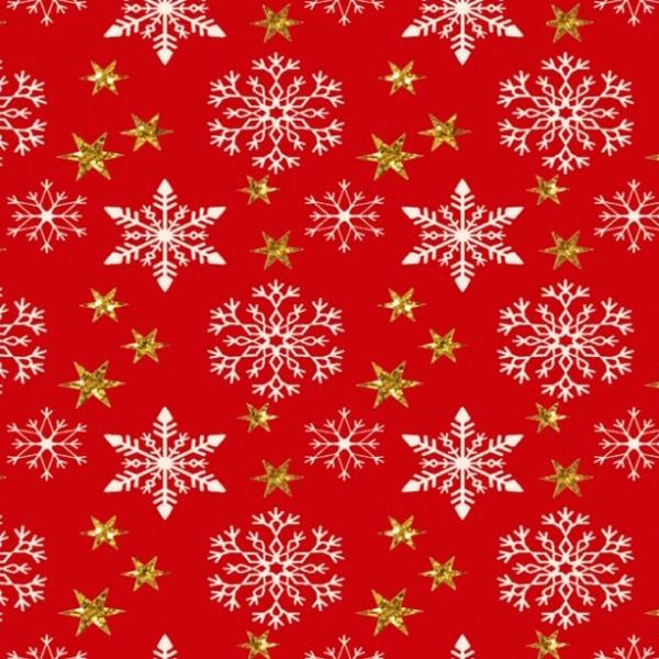 Xmas, Kristalle und Sterne gold auf rot, Baumwollstoff