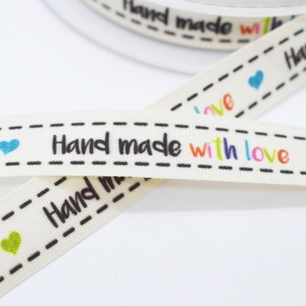 Handmade (schwarz) with love (bunt), Stoffband