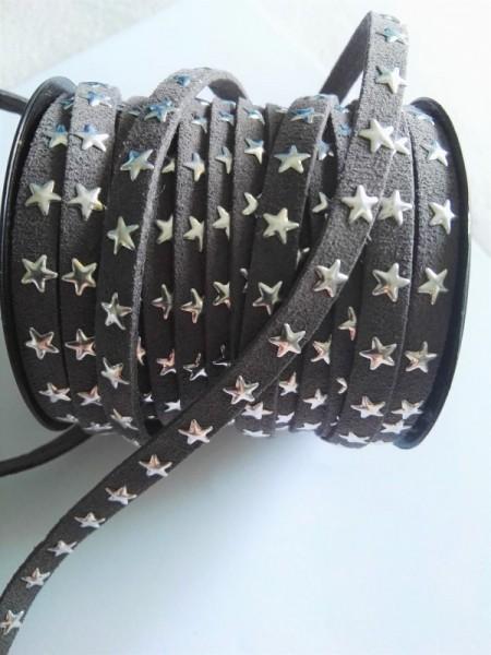Lederband, Sterne, grau