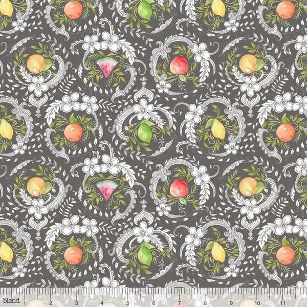 blend fabrics, Botanique Früchte auf grau, Baumwollstoff