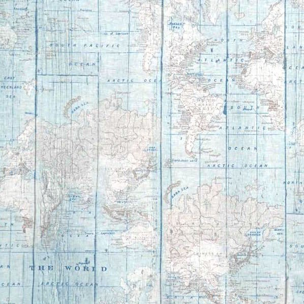 Vintage Weltkarte hellblau, Dekostoff
