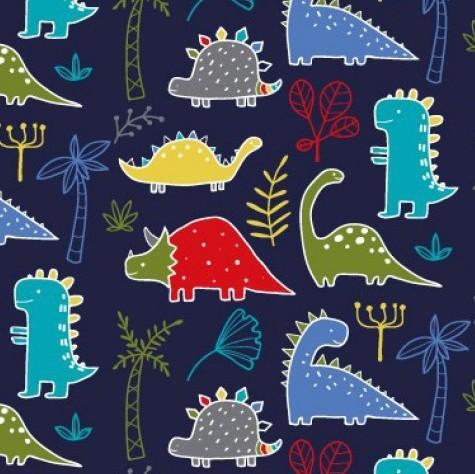 Bunte Dinosaurier mit rot auf dunkelblau, Jersey