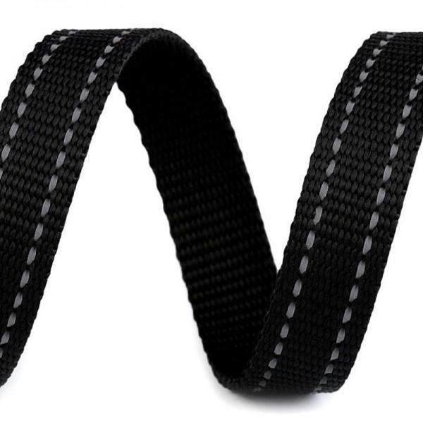 Gurtband, schwarz mit reflektierender Steppung, 20 mm