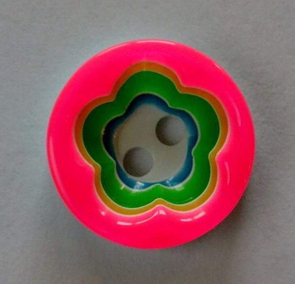Blume, pink-grün-weiß, Knopf