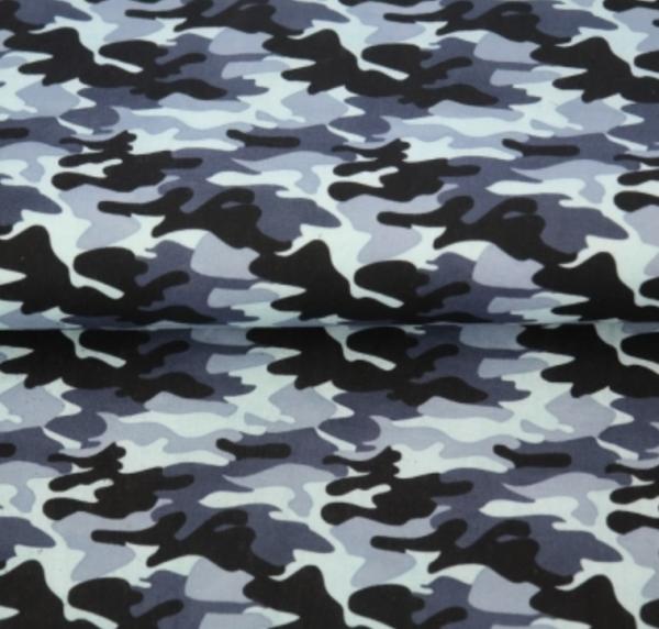 Baumwollpopeline, Camouflage grau/schwarz