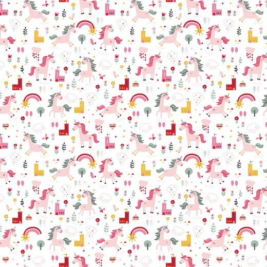Happy Unicorn, weiß, Popeline, waschbar bei 60°
