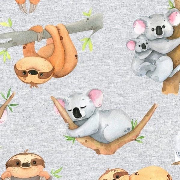 Faultier&Koala auf grau-meliert, Kuschelsweat