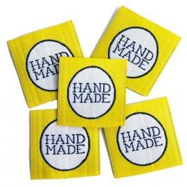 Hand made, gelb, Webetikett