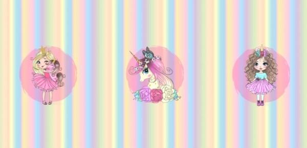 Stenzo Digitaldruck Regenbogen-Mädchen mit Einhorn Paneel, Sweat