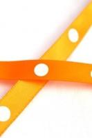 Satinband, single dots, orange, 10 mm