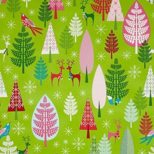 Michael Miller, Festive Forest Winter Woods green