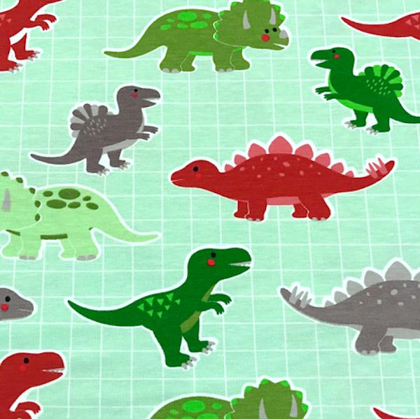 Jersey, Dinos auf Karo hellgrün