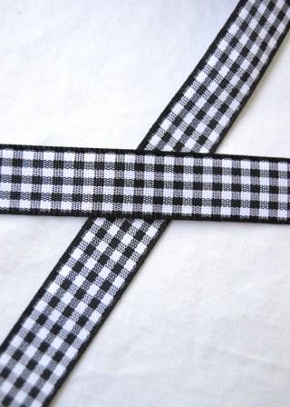 Stoffband, schwarz kariert, 15 mm