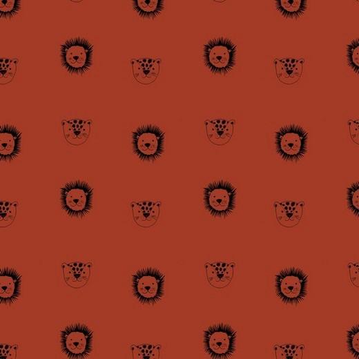 BIO-Baumwolllstoff, Kleiner Löwe rostrot, waschbar bei 60°