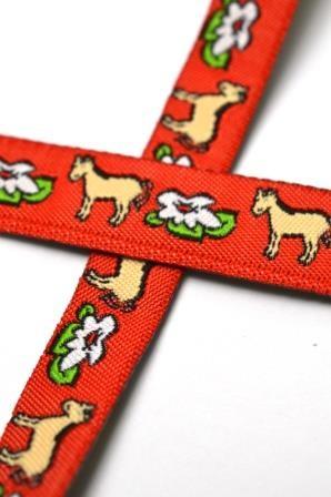Pferde auf rot, Webband