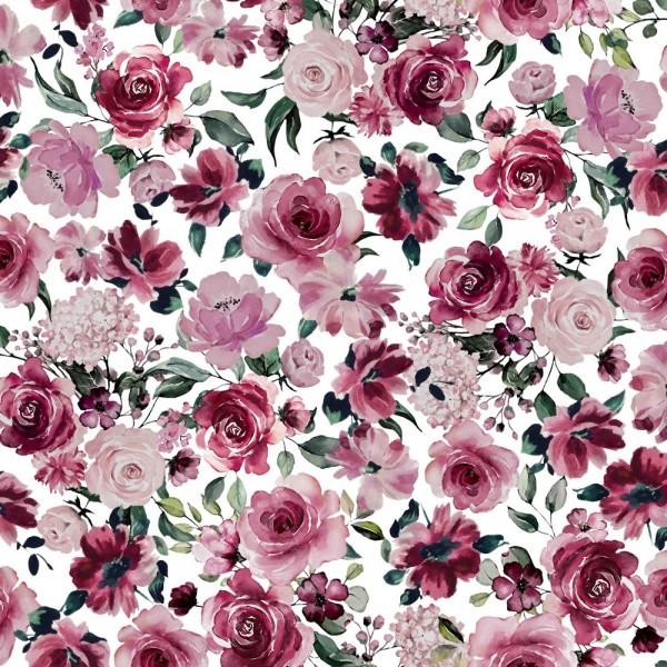 Digitaldruck Rose Flowers auf weiß, Sweat