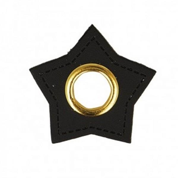 Kunstleder Ösenpatch, Stern 10 mm Ø, schwarz