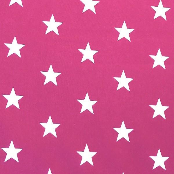 Lili Big Star weiß auf zyklam, Webstoff, waschbar bei 60°