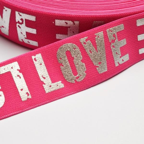 Gummiband breit, Love pink