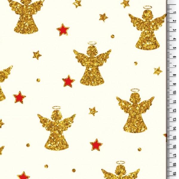 Xmas, Engel gold und rot auf offwhite, Baumwollstoff