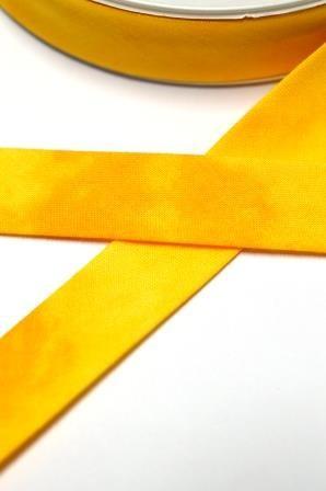 Tie Dye Schrägband, 20 mm, gelb