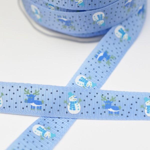 Rentier und Schneemann, blau, Ripsband