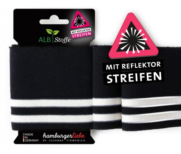 Strickbündchen Cuff Me Reflektor, schwarz-weiß,140 cm