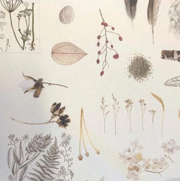 Dekostoff Digitadruck Federn&Blumen auf offwhite
