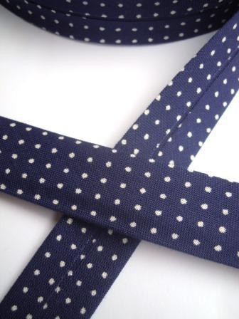 Westfalen Schrägband, dunkelblau mit weißen Pünktchen