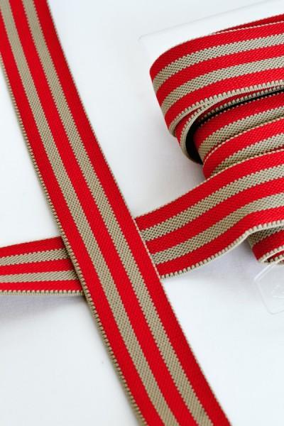 Gummiband breit, Streifen rot-beige