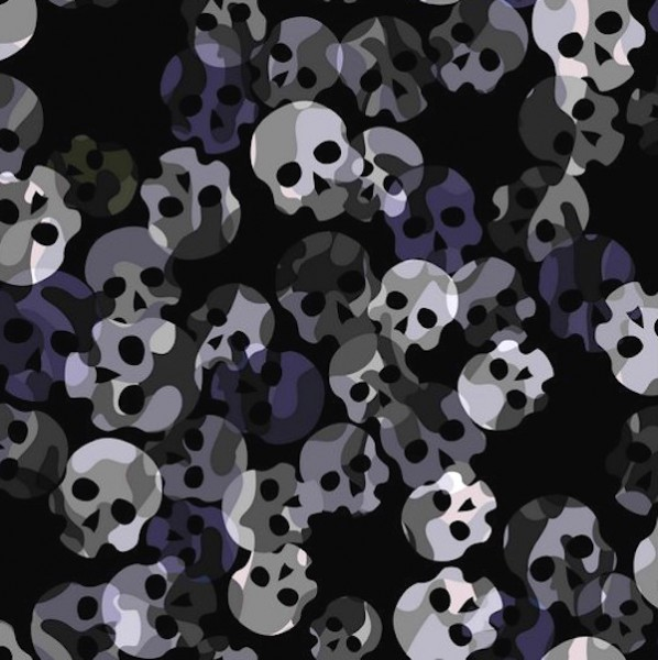 Leichter Softshell 3-Layer, Totenköpfe schwarz