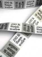 Textilkennzeichnung, 100% Baumwolle, weiß Webband
