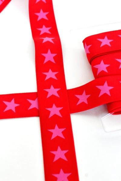 Gummiband breit, Sterne pink auf rot